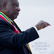 """Cyril M. Ramaphosa, Deputy President of South Africa, The Presidency of South Africa, South Africa speaking during the Session """"CST South Africa"""" at the Annual Meeting 2018 of the World Economic Forum in Davos, January 24, 2018.<br /> Copyright by World Economic Forum / Greg Beadle Portraits captured by Greg Beadle in studio and on location"""