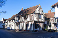 The16th Century Old Wool Hall on the corner of Water and Lady Street in Lavenham, Suffolk, England, UK.