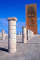 Maroc, Rabat, Esplanade de la mosquée de Yacoub el-Mansour, La tour Hassan // Morocco, Rabat, Mohammed V mosoleum, Hassan tower