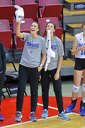 23 November 2017:  Drake bench celebrates a point during a college women's volleyball match between the Drake Bulldogs and the Indiana State Sycamores in the Missouri Valley Conference Tournament at Redbird Arena in Normal IL (Photo by Alan Look)