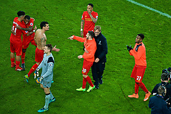 LIVERPOOL, ENGLAND - Monday, December 19, 2016: Liverpool's Dejan Lovren, Adam Lallana and manager Jürgen Klopp celebrate a late 1-0 victory over Everton in the FA Premier League match, the 227th Merseyside Derby, at Goodison Park. (Pic by Gavin Trafford/Propaganda)