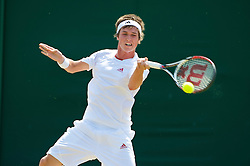LONDON, ENGLAND - Monday, June 29, 2009: David Thomson GBR) during the Boys' Singles 1st Round match on day seven of the Wimbledon Lawn Tennis Championships at the All England Lawn Tennis and Croquet Club. (Pic by David Rawcliffe/Propaganda)
