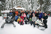 Snowmobile enthusiasts gather for Snowarama each year, in the mountains surrounding Campbell River.  Vancouver Island, British Columbia, Canada.