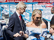 Arsene Wenger arrives at the ground and signs autographs before his final game in charge of Arsenal during the Premier League match at the John Smiths Stadium, Huddersfield<br /> Picture by James Wilson/Focus Images Ltd 07522 978714<br /> 13/05/2018