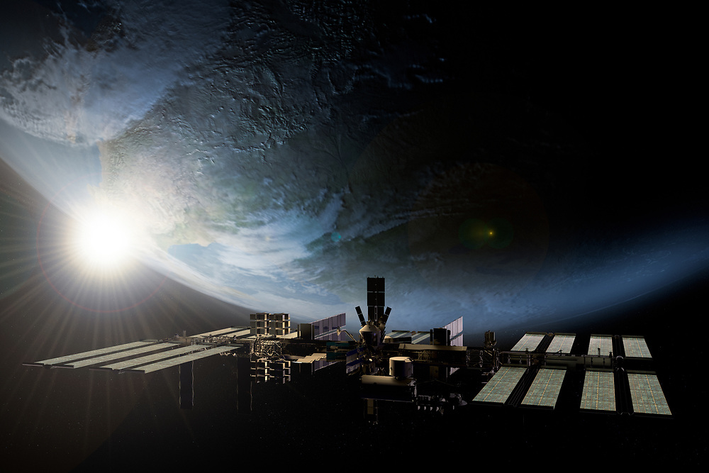 3D rendering of the International Space station orbiting the Earth
