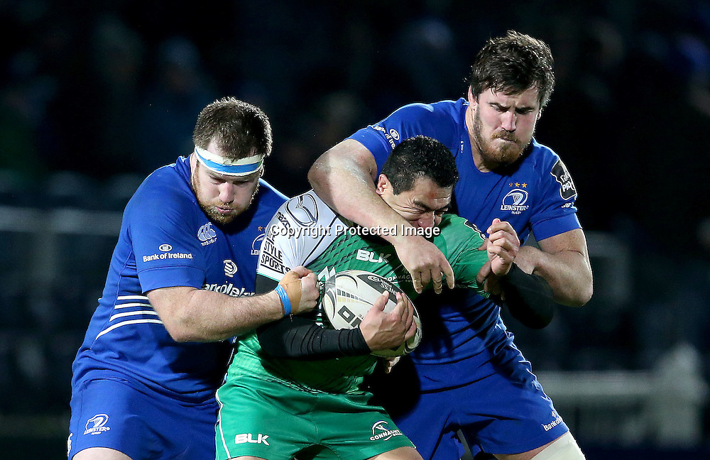 Guinness PRO12, RDS, Dublin 19/12/2014<br /> Leinster vs Connacht<br /> Leinster's Kane Douglas and Michael Bent tackle Mils Muliaina of Connacht<br /> Mandatory Credit &copy;INPHO/Dan Sheridan