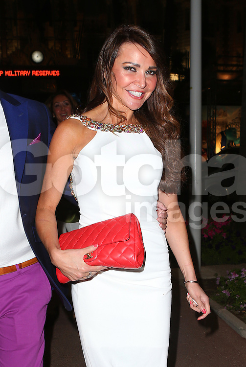 Lizzie Cundy enjoys a night out at the Nikki Beach Club in Cannes, France. 19/05/2013<br />BYLINE MUST READ : JAMESY/GOTCHA IMAGES<br /><br />Copyright by &copy; Gotcha Images Ltd. All rights reserved.<br />Usage of this image is conditional upon the acceptance <br />of Gotcha Images Ltd, terms and conditions available at<br />www.gotchaimages.com