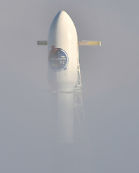 10-7-18. Vandenberg AFB. CA.  SpaceX F-9 emerges from the thick fog as engineers are preparing for the launch of a Falcon 9 rocket Sunday. The launch will happen at at 7:22 p.m. PDT (10:22 p.m. EDT; 0221 GMT Monday) with SAOCOM 1A, a radar observation satellite for Argentina. The mission will include the first landing attempt by a SpaceX booster at AmericaÃ•s West Coast spaceport along with couple of sonic booms will be heard doing reentry.  . Photo by Gene Blevins/LA DailyNews/ZUMAPRESS (Credit Image: © Gene Blevins/ZUMA Wire)