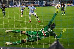 Foto LaPresse/Filippo Rubin<br /> 12/05/2019 Ferrara (Italia)<br /> Sport Calcio<br /> Spal - Napoli - Campionato di calcio Serie A 2018/2019 - Stadio &quot;Paolo Mazza&quot;<br /> Nella foto: GOAL SPAL ANDREA PETAGNA (SPAL)<br /> <br /> Photo LaPresse/Filippo Rubin<br /> May 12, 2019 Ferrara (Italy)<br /> Sport Soccer<br /> Spal vs Napoli - Italian Football Championship League A 2018/2019 - &quot;Paolo Mazza&quot; Stadium <br /> In the pic: GOAL SPAL ANDREA PETAGNA (SPAL)