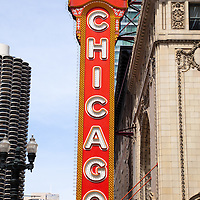 Chicago sign on the Chicago Theater. The Chicago Theatre is a popular Chicago attraction and landmark listed with the National Register of Historic Places.