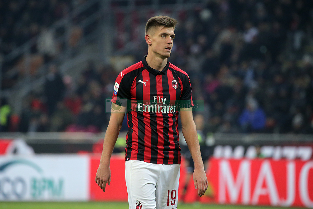 January 26, 2019 - Milan, Milan, Italy - Krzysztof Piatek #19 of AC Milan during the serie A match between AC Milan and SSC Napoli at Stadio Giuseppe Meazza on January 26, 2018 in Milan, Italy. (Credit Image: © Giuseppe Cottini/NurPhoto via ZUMA Press)