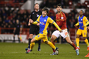 Nottingham Forest striker Nelson Oliveira    and Preston midfielder Ben Pearson during the Sky Bet Championship match between Nottingham Forest and Preston North End at the City Ground, Nottingham, England on 8 March 2016. Photo by Jon Hobley.