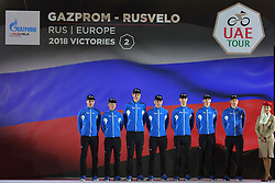 February 23, 2019 - Abu Dhabi, United Arab Emirates - Team Gazpron - Rusvelo from Russia, during the Team Presentation, at the opening ceremony of the 1st UAE Tour, inside Louvre Abu Dhabi museum..On Saturday, February 23, 2019, Abu Dhabi, United Arab Emirates. (Credit Image: © Artur Widak/NurPhoto via ZUMA Press)