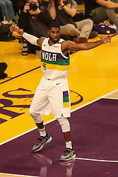 February 27, 2019 - Los Angeles, CA, U.S. - LOS ANGELES, CA - FEBRUARY 27: New Orleans Pelicans Guard E'Twaun Moore (55) defending during the first half of the New Orleans Pelicans versus Los Angeles Lakers game on February 27, 2019, at Staples Center in Los Angeles, CA. (Photo by Icon Sportswire) (Credit Image: © Icon Sportswire/Icon SMI via ZUMA Press)