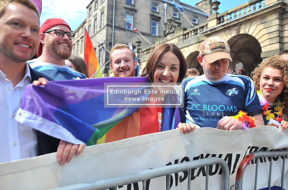 Scottish Labour leader Kezia Dugdale prepares to lead off  marchers before the annual Pride Scotia march in Edinburgh.<br /> <br /> &copy; Dave Johnston/ EEm