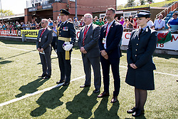 NEWTOWN, WALES - Sunday, May 6, 2018:  Air Commodore Aidrian Williams holds the match ball as the RAF Falcons display parachuting team stand to attention on the pitch before the FAW Welsh Cup Final between Aberystwyth Town and Connahs Quay Nomads at Latham Park. (Pic by Paul Greenwood/Propaganda) David Griffiths, Ryan Giggs, Jonathan Ford