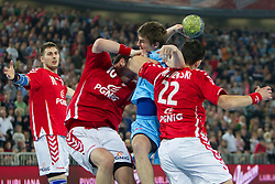 Sebastian Skube of Slovenia between Daniel Zoltak and Marcin Lijewski of Poland during handball match between National teams of Slovenia and Poland of Qualifications for EURO 2012, on March 9, 2011 in Arena Stozice, Ljubljana, Slovenia. Slovenia defeated Poland 30-28. (Photo By Vid Ponikvar / Sportida.com)