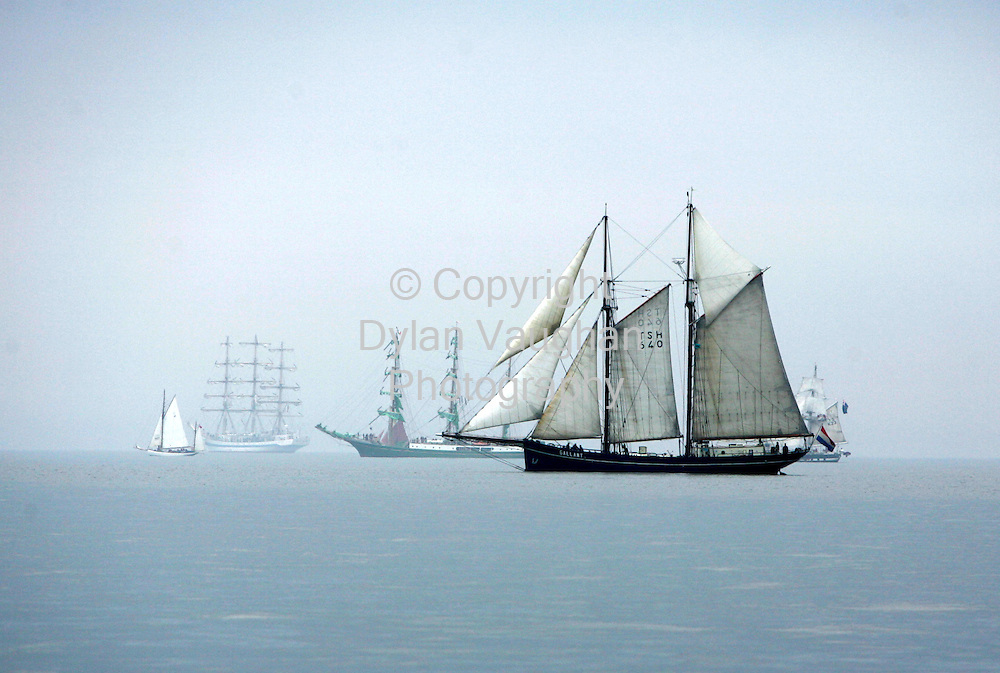 10/7/2005.Some of the tall ships pictured 5km from Hook Head on Saturday before leaving for Cherbourg on the first leg of the Tall Ships Races 2005..Picture Dylan Vaughan
