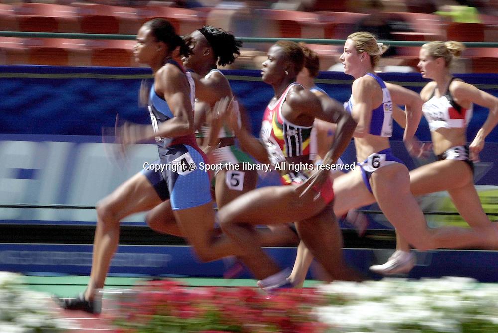 &copy; Sport the library/ RICK RICKMAN/NEWSPORT/ Photosport<br /> TRACK &amp; FIELD-2001 WORLD CHAMPIONSHIPS - <br /> 08/05/2001 - EDMONTON<br /> WOMEN'S 100M SEMI-FINALS<br /> MARION JONES (USA)