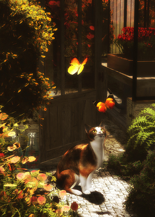 Surrounded by rustic structures, lovely greens, and the brilliant colors of beautiful butterflies, A Romantic Cat Loves Butterflies is perfect for those who love warm afternoon scenes. This young cat is clearly enraptured with these fascinating creates. Is the cat discovering them for the first time? Are the cat and the butterflies old friends? This romantic scene suggests anything is possible. There is a sense of wonder that you can see in the eyes of the cat which can only be described as inspiring. This art is available in the form of wall art, as a t-shirt, or on various interior products. .<br />