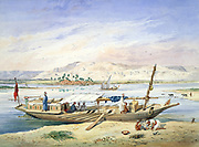 JWP's kanja moored beside the East bank of the Nile at Luxor',  1838-1843. Watercolour. Emile Prisse d'Avennes, (1807-1879) French architect, engineer and orientalist. Egypt