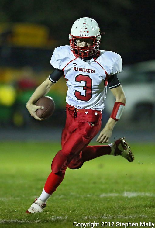 Maquoketa's Blaise Waller (3) on a run during the first half of the game between Maquoketa and Marion at Thomas Park Field in Marion on Friday, September 21, 2012.