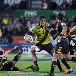 Sam Lousi in action during the Super Rugby match between the Chiefs and Hurricanes at FMG Stadium in Hamilton, New Zealand on Friday, 13 July 2018. Photo: Dave Lintott / lintottphoto.co.nz