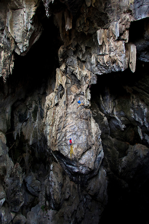 """Surachet """"Add"""" Kongsingh leading the airy first pitch of Anxiety State Crisis, 7a, Crazy Horse Buttress, Chiang Mai, Thailand"""