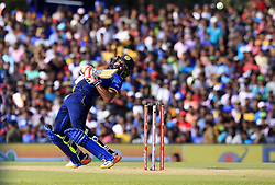 August 20, 2017 - Dambulla, Sri Lanka - Sri Lankan cricketer Niroshan Dickwella avoids a bouncer ball during the 1st One Day International cricket match bewtween Sri Lanka and India at Dambulla International cricket stadium situated in the Central Province and the first and only International cricket ground in the dry zone of Sri Lanka on Sunday 20 August 2017. (Credit Image: © Tharaka Basnayaka/NurPhoto via ZUMA Press)