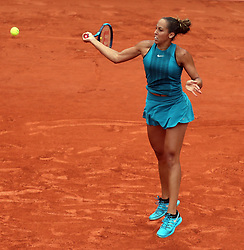 PARIS, June 5, 2018 - Paris, France - MADISON KEYS of the United States returns a shot during the women's singles quarterfinal match against Yulia Putintseva of Kazakhstan at the French Open Tennis Tournament 2018 in Paris, France. Keys won 2-0. (Credit Image: © Luo Huanhuan/Xinhua via ZUMA Wire)