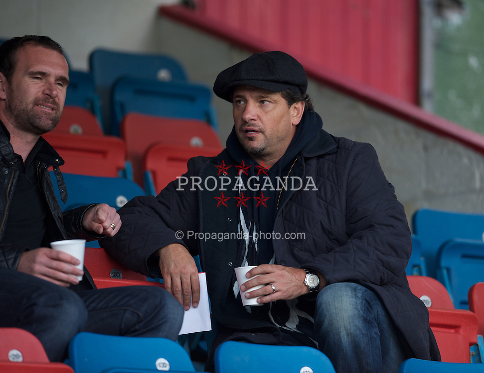 NEWTOWN, WALES - Tuesday, September 14, 2010: Newport County manager Dean Holdsworth during the Under-23 Semi-Pro International Friendly match at Latham Park. (Photo by David Rawcliffe/Propaganda)