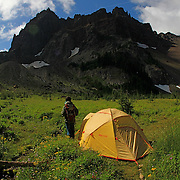 Camping at the base of Three-Fingered Jack near Bend, Oregon