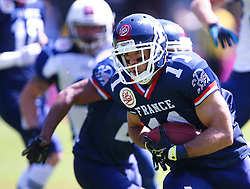 07.06.2014, Ernst Happel Stadion, Wien, AUT, American Football Europameisterschaft 2014, Spiel um Platz 3, Frankreich (FRA) vs Finnland (FIN), im Bild Guillaume  Rioux , (Team France, WR , #11) // during the American Football European Championship 2014 game for place 3 between France and Finland at the Ernst Happel Stadion, Vienna, Austria on 2014/06/07. EXPA Pictures © 2014, PhotoCredit: EXPA/ Thomas Haumer