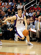 Jan. 28, 2011; Phoenix, AZ, USA; Phoenix Suns guard Goran Dragic (2) drives the ball against the Boston Celtics at the US Airways Center.  The Suns defeated the Celtics 88-71. Mandatory Credit: Jennifer Stewart-US PRESSWIRE.