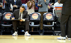 Texas A&M head coach Billy Kennedy prepares for the start of an NCAA college basketball game against Iowa State, Saturday, Jan. 30, 2016, in College Station, Texas. Texas A&M won 72-62. (AP Photo/Sam Craft)