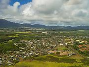 Aerial view of Lihue, Kauai, Hawaii on a cloudy day.