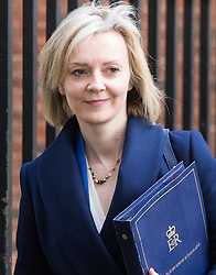Downing Street, London, February 28th 2017. Justice Secretary and Lord Chancellor Liz Truss leaves the weekly cabinet meeting at 10 Downing Street in London.