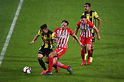 Phoenix player Dylan Fox and Melbourne player Rostyn Griffiths during their Hyundai A League match. Wellington Phoenix v Melbourne City FC. Westpac Stadium, Wellington, New Zealand. Saturday 26 January 2019. ©Copyright Photo: Chris Symes / www.photosport.nz