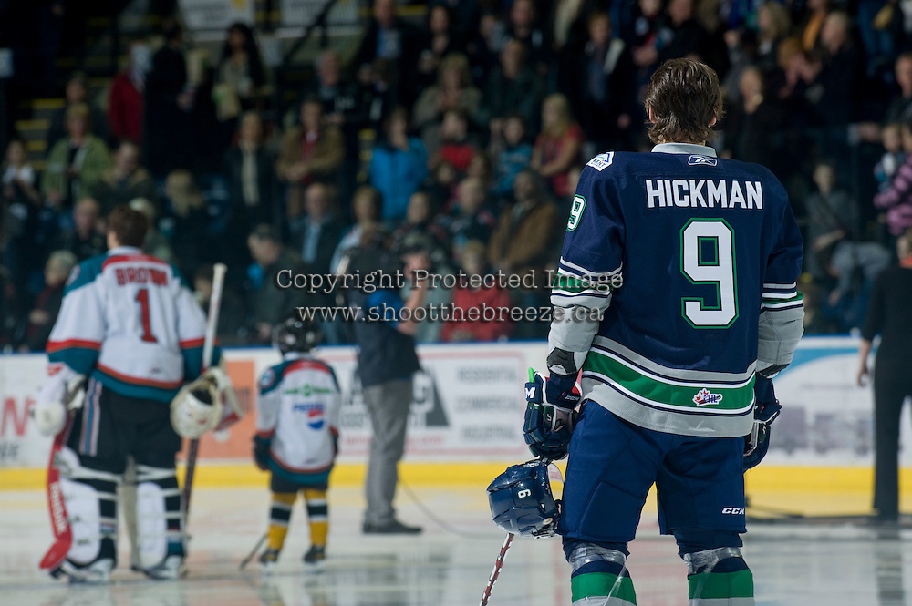 KELOWNA, CANADA, JANUARY 27: Justin Hickman #9 of the Seattle Thunderbirds lines up against his home town Kelowna Rockets as the Seattle Thunderbirds visit the Kelowna Rockets on January 27, 2012 at Prospera Place in Kelowna, British Columbia, Canada (Photo by Marissa Baecker) *** Local Caption ***