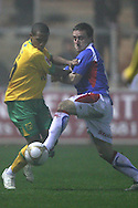 Carlisle - Saturday November 28th, 2009: Matthew Robson of Carlisle United and Korey Smith of Norwich City during the FA Cup second round match at Brunton Park, Carlisle. (Pic by Andrew Stunell/Focus Images)..
