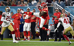 February 2, 2020, Miami Gardens, FL, USA: Kansas City Chiefs wide receiver Sammy Watkins (14) catches a pass between San Francisco 49ers defensive back Emmanuel Moseley (41) and strong safety Jaquiski Tartt (29) in the first half of Super Bowl 54 on Feb. 2, 20202 at Hard Rock Stadium in Miami Gardens, FL. (Credit Image: © TNS via ZUMA Wire)