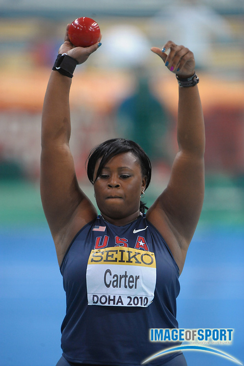 Mar 13, 2010; Doha, QATAR; Michelle Carter (USA) threw 59-8 1/2 (18.20m) in the IAAF World Indoor Championships in Athletics at the Aspire Dome.