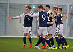 EDINBURGH, SCOTLAND - Sunday, October 30, 2016: Scotland's Taylor Wilson celebrates scoring the first goal against Northern Ireland during the opening match of the Under-16 2016 Victory Shield at ORIAM. (Pic by David Rawcliffe/Propaganda)