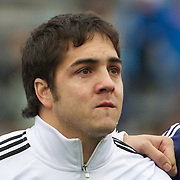 Horacio Agulla, Argentina, crying during the National Anthem during the Argentina V France test match at Estadio Jose Amalfitani, Buenos Aires,  Argentina. 26th June 2010. Photo Tim Clayton...