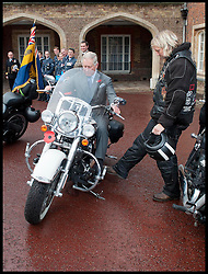 HRH Prince Charles meets ambassadors for the Royal British Legion launch London Poppy Day to raise £1m. Hells Angels Dave Hughes. Photo By i-Images