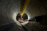 """Mexico, D.F.: Construccion de la Linea 12 del Metro. Estacion Mexicaltzingo, Vista de la tunelera Robbins """"La Rielera"""". Sistema de transporte colectivo metro"""