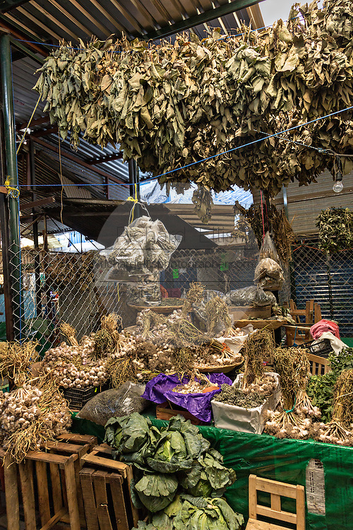 Herbal shop at Benito Juarez market in Oaxaca, Mexico.