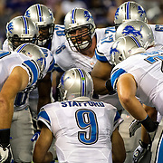 August 17, 2012:  Detroit Lions quarterback Matthew Stafford (9) commands the huddle during the game between the Baltimore Ravens and the Detroit Lions at M&T Bank Stadium in Baltimore, MD.  The Detroit Lions defeat the Baltimore Ravens 27-12. (Credit Image: © Kostas Lymperopoulos/Cal Sport Media)