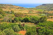 Rural farming landscape from Xaghra to Ramla Bay, island of Gozo, Malta