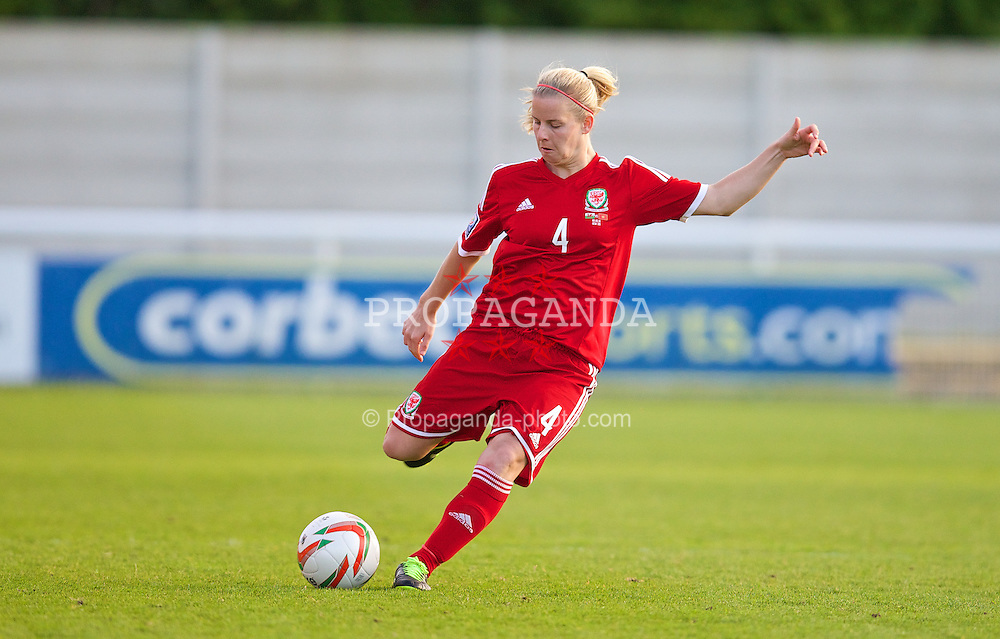 BANGOR, WALES - Thursday, May 8, 2014: Wales' Kylie Davies in action against Montenegro during the FIFA Women's World Cup Canada 2015 Qualifying Group 6 match at the Nantporth Stadium. (Pic by David Rawcliffe/Propaganda)